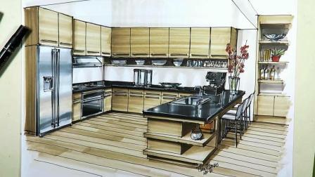廚房手繪效果圖 室內設計 手繪教程