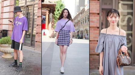 实拍武汉街拍潮人,没想到紫色竟然能穿得这么