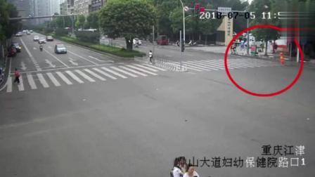 行人斑马线上闯红灯, 却没想到轿车直接撞了上来