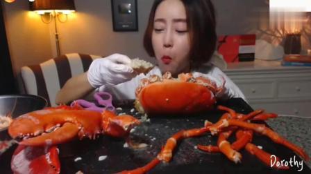 一米多的大龙虾吃了好久, 韩国美女大胃王大口吃