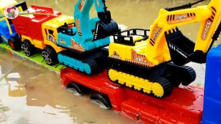 大卡車搬運挖掘機和翻斗車小汽車, 兒童玩具, 小臭臭親子游戲