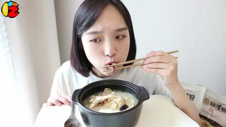 一只炖鸡肚子里也大有秦坤, 韩国大胃王美女吃香