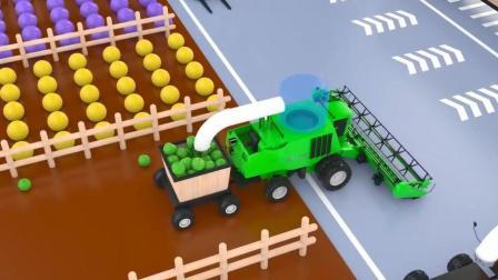 机械化农场播种蔬菜水果认识颜色农用机械车辆婴幼儿英语动画启蒙视频