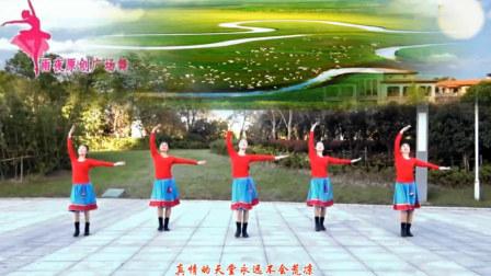 点击观看《雨夜广场舞 蓝色天梦 中老年广场舞的正背面演示与分解教学》
