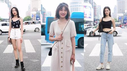 杭州美女街拍,第一位又美又个性,第三位是不