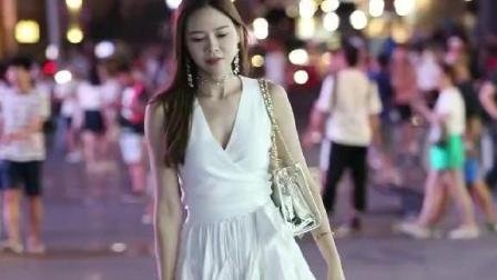 街拍女神, 一袭白裙, 宛如仙子