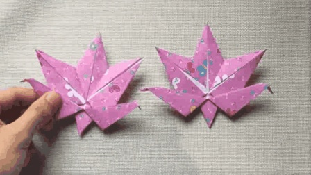 漂亮的折纸枫叶, 折完后可以作为教师节礼物, 还可以当书签用
