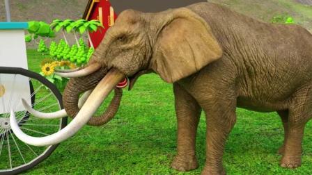 益智: 颜色启蒙, 大象和恐龙带着伙伴们吃冰淇淋学颜色识英语