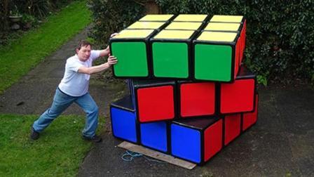 狂人造世界最大魔方, 耗时2个月, 有200斤重, 玩一次累断气