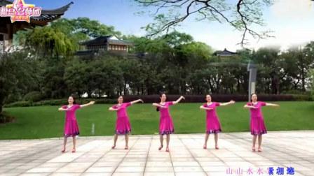 点击观看《雨夜广场舞 山水唱情歌 中老年广场舞视频教学分解含正反面动作演示》