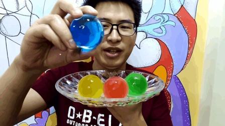 吃冰达人: 吃冰哥吃彩色大冰球空心冰块, 特别漂亮, 吃起来嘎嘣脆