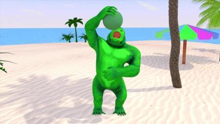 益智趣味动画片 大猩猩吃七彩椰子