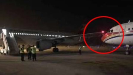 南京一机场两客机发生刮蹭