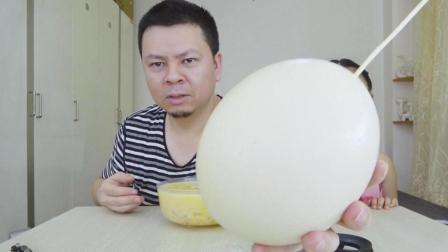 """試吃巨大的""""鴕鳥蛋"""", 120元一個鴕鳥蛋, 吃起來是什么味道?"""