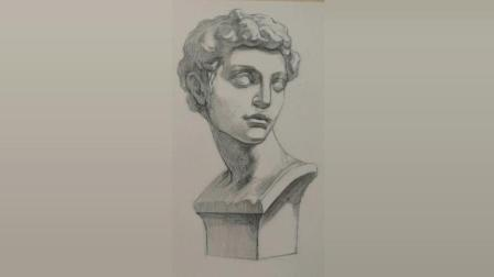 素描头像第二节课: 石膏像小卫铺画明暗关系, 素描入门很简单