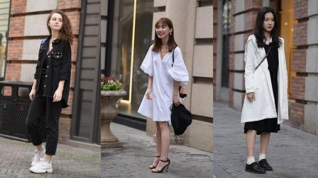武汉美女街拍,第二位白色连衣裙的小姐姐是直