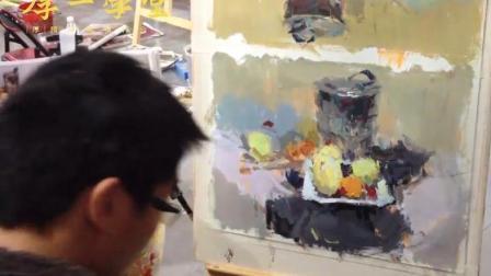 杭州画室厚一学堂艾鹏校长示范不锈钢水果类小色稿2和小色稿3两篇连发, 初学色彩必备