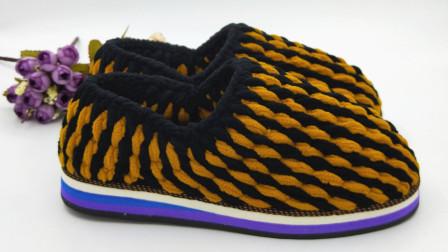 手工编织双线带后跟棉鞋教程,毛线钩拖鞋编织视频
