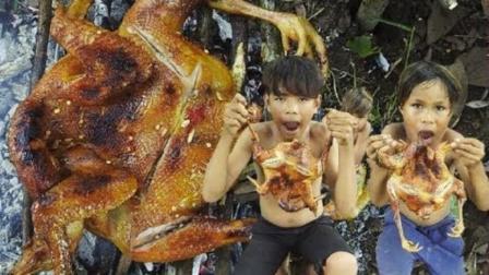 农村小屁孩户外烤鸡, 金黄的土鸡烤着吃最香, 看