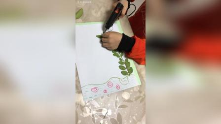 和儿子一起动手做, 树叶贴画。
