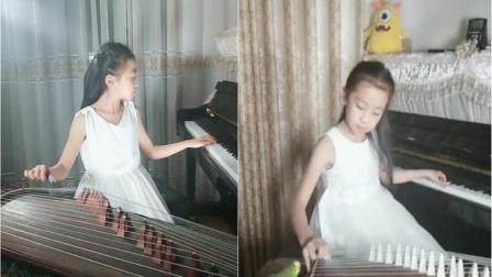 9岁女孩左手弹钢琴右手弹古筝 一双手就能合奏出天籁之音