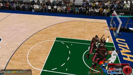 NBA2KOL 爵士VS传奇热火, 12韦德4步上篮竟然没吹?