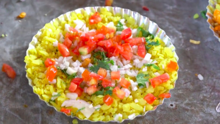 实拍印度街头美食蛋炒饭, 佐料繁多, 特别讲究