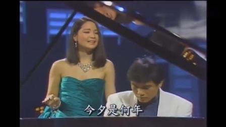 邓丽君现场演唱《但愿人长久》, 仅凭一架钢琴伴奏, 尽显不凡唱功