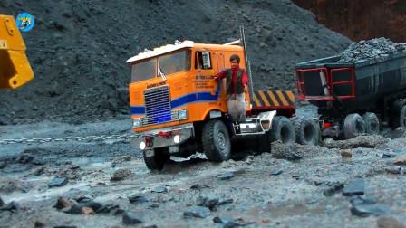 戶外實拍仿真遙控工程玩具車,自卸車大卡車裝載車搬運石子鋪路,兒童玩具親子互動