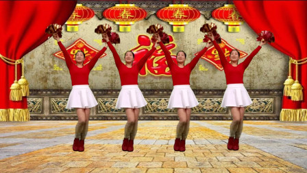 红豆广场舞《财神驾到》美丽时尚又大方的新年花球舞
