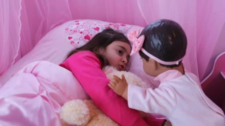萌娃小可爱:熊孩子别睡了,快点起床洗漱啦!上学不要迟到了哟!