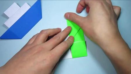 一張正方形紙2分鐘折紙輪船,兒童手工折紙小船