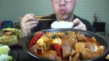 韩国吃货小哥,吃香辣鸡肉炖粉条+米饭,配拌黄瓜,吃的太香了