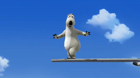 倒霉熊一口气跑到跳水台最高层,哇呜,有些恐高呀老兄