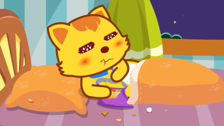 貓小帥故事好習慣之不在床上吃東西