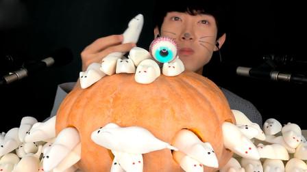 """小哥挑战""""小白鼠""""软糖,变成猫咪开始拯救南瓜,网友:不知是什么味道"""