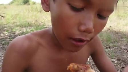 野外瓦煲炖土鸡, 味美肉嫩, 这就是农村孩子最渴望的美食