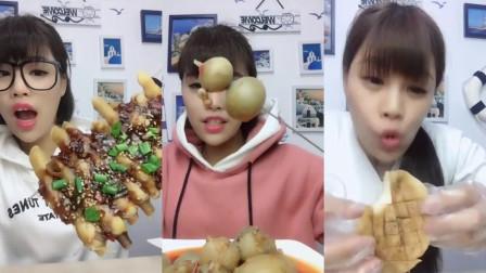 吃货小姐姐吃八爪鱼子,吃的美味极了,营养又美味