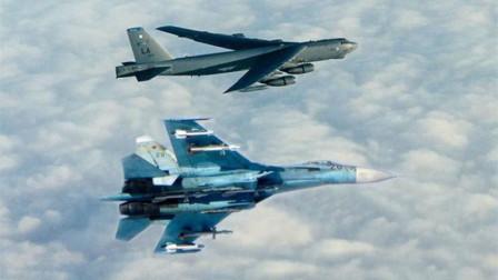 B52满载导弹逼近领空,俄两架苏27前后包夹