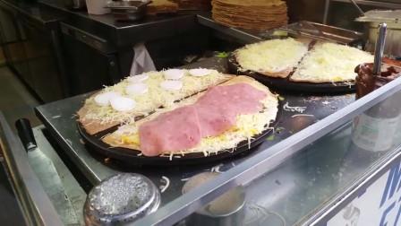 韩国街头美食,煎薄皮饼,好吃又实惠