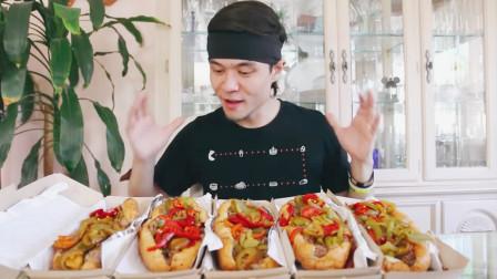 大胃狂吃5盒牛肉三明治,一般人吃1个就撑,难道他能挑战成功?