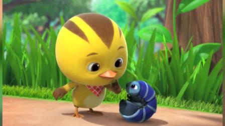 萌鸡小队动画片:麦奇发现一个奇怪的虫子,能爬又能滚的毛毛虫真好玩!