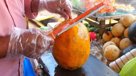 印度街头美食,水果现切现榨!网友:瞧那榨汁机,我都不想要了呢