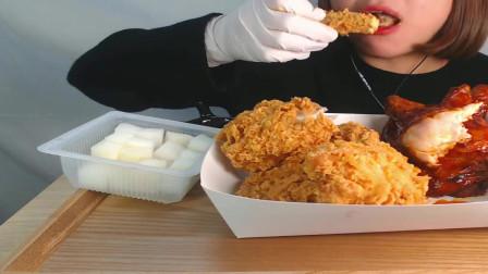 国外女吃货,吃烤鸡、炸鸡,配上萝卜块,蘸点酱,吃得真馋人