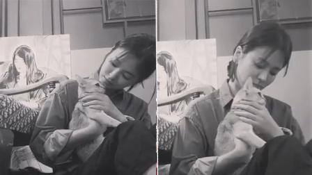 宋慧乔献吻爱猫 喵星人高冷一脸不情愿