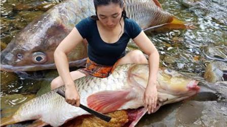 嫂子抓到条大鱼,做出来的美食真有食欲!