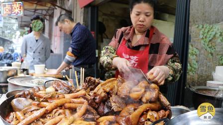 夫妻一天卖400斤卤菜,2大盘卖75元,徒手捞热肉,大老爷们挤着买