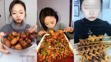 大胃王:吃货美女姐挑战面筋,一口吃一个超级过瘾,感觉味道好好