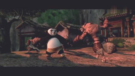 功夫熊猫:阿宝和五?#38647;?#25104;最强功夫组合,帮村民们赶跑豺狼强盗