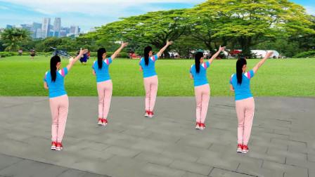 玫香广场舞原创《我在雨中等你》背面演示